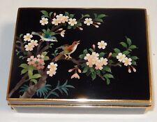 INABA FLORAL BIRD CLOISONNE BLACK ENAMEL GOLD GILT METAL TRIM BOX SIGNED