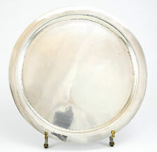 German Handarbeit .900 Silver Circular Hand Hammered Tray; 26toz  Makers Mark