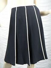 DNKY black cream trim wool blend A-line pleated skirt size 8 EUC