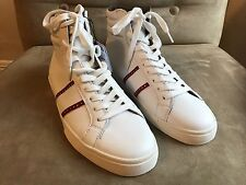 ZARA MAN WHITE RED STUDDED STRIPES LACE UP HIGH TOP SNEAKERS SHOES 11 44 10 28.5