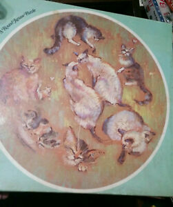 1977 Scheaffer/Eaton TREASURE COLLECTION ROUND PUZZLE-Meow!Meow!-Jeanne Johns