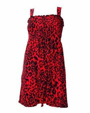DARKSIDE RED LEOPARD PRINT DRESS TUNIC SMOCK, PUNK GOTH ROCK 8 10 12 14 16