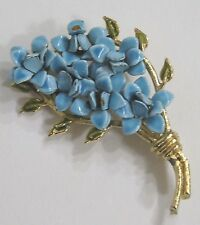 Vintage Jewelry Signed Weiss Brooch Enameled Blue Flowers Goldtone