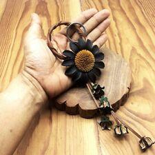Black & Yellow Flower Genuine Leather Keychain KeyRing Handmade Purse Floral