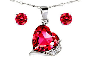 """Created Ruby Pendant Necklace & Earring Set 925 Sterling Silver w/ 18"""" Chain"""