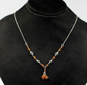 Solid 925 Sterling Silver Jewelry Carnelian Gemstone Women's Beads Necklace