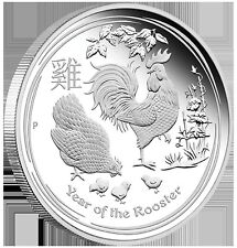 2017 $1 Australian Lunar Year of the Rooster 1 oz Silver Proof Coin Perth Mint