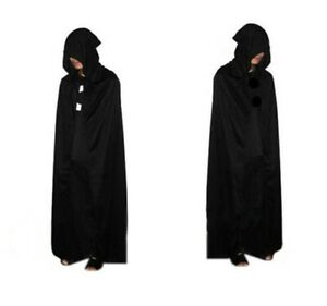 Adult Unisex Long Hooded Cape Cloak Costume Witch Robe Halloween Party Cosplay