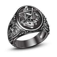 Real Black Diamond 14K Black Gold FN 925 Silver Libra Zodiac Men's Ring Sz 7 8 9