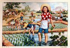 Vintage Chinese View in Rural Village Rice Field Propaganda Poster Art Print A4