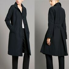 M&S AUTOGRAPH Long BELTED TRENCH COAT / MAC with Stormwear ~ Size 16 ~ BLACK