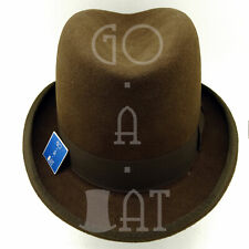 RETRO Wool Felt Men Homburg Top Hat Gentlemen Fedora Gutter Crown | 59cm | Brown