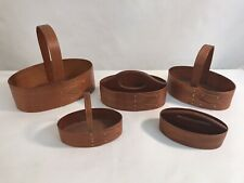 Handcrafted Small Oval Shaker Style Tray Baskets Lot of 5 Signed (A4)