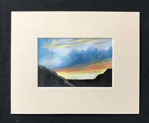 "Evening Sunset original mounted pastel painting 10""x8"" G.Burgess Cornwall"