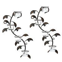 Hosleys Leaf Wall Art, Candle Holder , Wall Sconce Plaque Set of 2, Tea Light 16