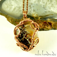 DENDRITIC AGATE CRYSTAL NECKLACE COPPER WIRE WRAPPED ARTISAN JEWELRY