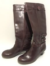 Leverage Wardrobe Dr Martens Amber Tall Boots w/ Heel Leather Burgundy Size 8
