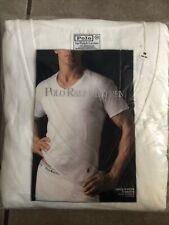 Polo Ralph Lauren 3-V Neck T-Shirts Medium (38-40)  White   (4566)