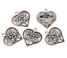Heart MOM Tibetan Silver bead charm Pendant fit bracelet jewelry making 5pcs