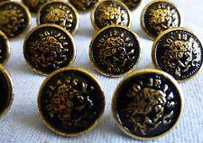 "18 Vintage NOI JEANS Gold Tone Brass Metal Black Enamel Shank Buttons 5/8"" E120"
