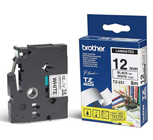 Brother 12mm Laminated Black On White Tape (TZ-231)