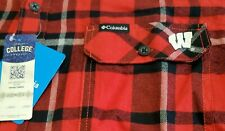 Columbia Mens Sz Large Wisconsin Badgers Red / Black L/S Flannel Shirt Heavy New