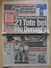 Bild Zeitung vom Freitag 20.7.1984, Johannes Heesters, 21 Tote bei McDonald's