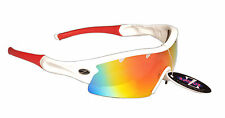 RayZor Pro Uv400 White Vented Cricket Wrap Sunglasses Red Iridium Mirrored Lens