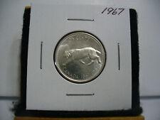 1967 CANADA   SILVER   QUARTER  DOLLAR  25 CENTS   NICE GRADE    67   BOBCAT