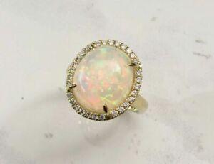 Natural Ethiopian Fire Opal Gemstone Real Diamond 14K White Gold Women Ring