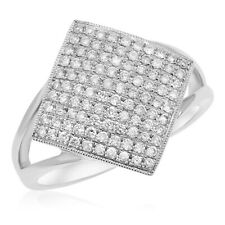 Square Cluster Cocktail Right Hand Ring 18K White Gold Micro Pave Diamond