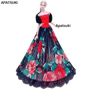 """Red Floral Dress For 11.5"""" Doll Clothes Outfit Set Lace Gown Black Wrap Cape 1/6"""