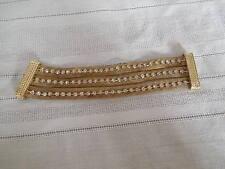 Vintage gold tone w/rhinestones mesh bracelet magnetic clasp