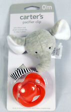 New Carters Pacifier Elephant Clip w Stripe Ribbon & Red Pacifier New in Package