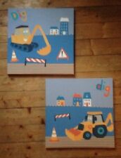 DIGGER THEMED CANVASS PICTURES (NEXT) x2 KIDS PICTURES - DIGGERS / JCB