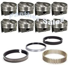 Chevy 7.4 454 Marine Hypereutectic Coated 20cc Dome Pistons Moly Rings Set .030""