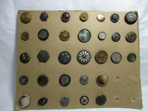 LOT- 31 Larger Antique BUTTON- Enamel,MOP,Painted,METAL,Steel,Asian,Pictoral-aa