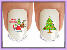 Nail Decals #803X CHRISTMAS Grinch 3 Merry Xmas Tree WaterSlide Nail Art Transfr