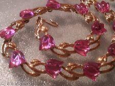 Vintage MINTY Designer Trifari Pink Lucite Flower Tulip Gold Necklace