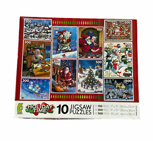 Holiday Time Ceaco 10 Christmas Jigsaw Puzzles Unopened; Santa, Snowman, Snow