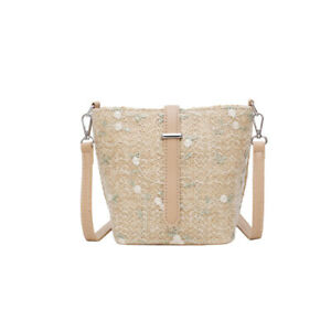 Embroidery Hand Woven Shoulder Bags with Lace Straw Bags Summer Beach Handbag