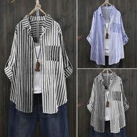 Chemise Femme Manche Longue Boutons Manteau Haut à rayures Couture Shirt Plus