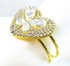 USA Bracelet gold silver rhinestone CRYSTAL statement heart love bangle cuff NEW