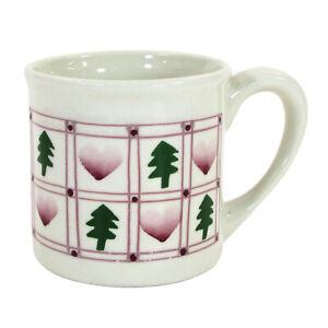 Hartstone Pottery HEARTS AND TREES 14oz Mug Red Green Christmas Holiday Vtg 1982