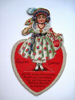 1926 Mechanical Antique Valentine Card w/ Cute Girl w/ Fan & Heart Necklace   *