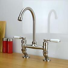 Traditional White Lever Bridge Taps Kitchen Sink Mixer Tap Brushed Steel Vintage