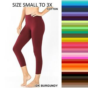 Zenana Capri Cropped Leggings Yoga Pants Cotton Stretch S-XL Plus 1X-3X  #1875