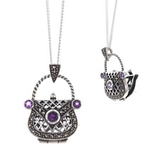 Lily Blanche Amethyst Handbag Locket Necklace Sterling Silver Amethyst Marcasite