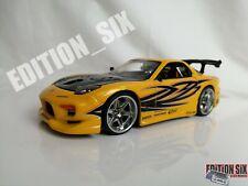 Jada 1:24 import racer MAZDA RX7 FD3S FD Yellow drift sports replica model car