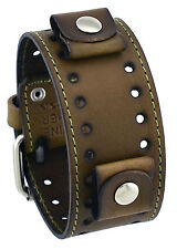 Nemesis STH-HB Hazelnut Brown Wide Leather Cuff Watch Wrist Band